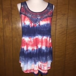 Women's one world red white blue tank sz S nwt